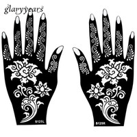 Wholesale Wholesale Henna Tattoo Stencils - Wholesale-Hot 1 Pair Henna Tattoo Stencil Beautiful Flower Pattern Design for Women Body Hands Mehndi Airbrush Art Painting 20 * 11cm S125