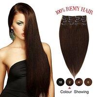 extensiones de cabello marrón oscuro clip ombre al por mayor-ELIBESS Clip In On Extensiones de cabello Virgen cabello humano Dark Brown cabeza completa 8pcs Set 100g cabello humano Remy