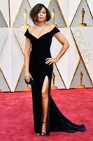Wholesale Long Sleeve Oscar Dresses - 2017 Velvet Taraji P. Henson 89th Oscars Mermaid Black Celebrity Evening Dresses Off-Shoulder High Split Long Dress for Prom Party Gowns