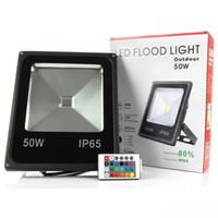 luz de punto llevada rgb impermeable al por mayor-AC85V-265V LED Luz de inundación 10W 20W 30W 50W RGB Impermeable IP65 Reflector Led Floodlight Garden Spotlight Lámpara de punto al aire libre.