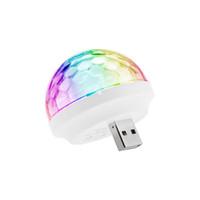 pequeño escenario de iluminación al por mayor-2017 USB Voz Flash KTV MiNi LED Pequeña Bola Mágica Control de Voz Rotación de Color KTV Flash Etapa de Luz para Q7 micrófono teléfono celular