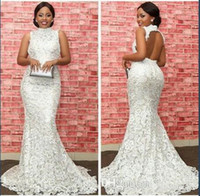 Wholesale High Neck Back Lace Dress - Plus size Vintage Crocheted Lace Mermaid Evening Dresses 2017 Modest Sexy African High Neck Keyhole Back Trumpet Occasion Prom Gowns