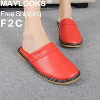 Wholesale Warm Slippers For Women - New Fashion Winter Ladies PU Leather Slippers Warm Candy Color Indoor Slipper Thicken Waterproof Lover Home House Shoe for Women