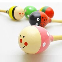 Wholesale Mini Wooden Maracas - Wholesale- Cartoon Mini Infant Baby Rattle Toy Wooden Maracas Baby Toys 0 12 Months Educational Wood Kids Development Toys For Baby