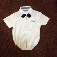 Wholesale Boy Shirt Bow Tie - Infant Boys Clothes White Shirt Romper With Bow Tie Short Sleeve European Style Summer Baby Bodysuit Clothes