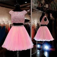 Wholesale rhinestone cocktail dress sheer sheath - Two Pieces Pink Short Crystals Homecoming Dresses Scoop Short Sleeve Backless Tulle Rhinestone Sexy Cocktail Dresses For Semi Prom 2017