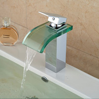 Wholesale Single Glass Brush - Chrome Finished Nickel Brushed Toughened Glass Bathroom Sink Faucet Contemporary Centerset Waterfall Ceramic Valve Single Handle One Hole