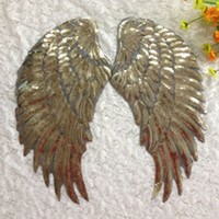 Wholesale 10 pair Gold sequined angel wings Embroidered Iron On Clothes patches T shirt clothing accessories Garment Applique DIY