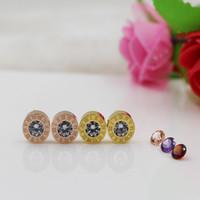 Wholesale Roman Crystal - Top Quality Luxury Brand Jewelry 316L Stainless Steel Crystal Earrings Roman Number Stud Earrings For Women