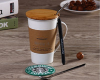 Wholesale Stainless Steel Ceramic Coffee Mugs - Classic Starbucks write it mug leave message cup ceramics Coffee cup with Stainless steel Straw Spoon Pen Coaster cover