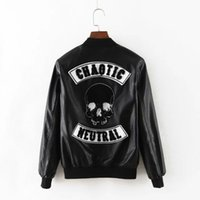Wholesale Ladies Skull Jackets - Wholesale- Women long sleeve bassball jacket new 2016 black short coat zipper Skull streetwear ladies fashion clothes female bomber jackets