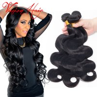 26 Pouces Réel Remy Pas Cher-Cheveux ondulés et ondulés de l'onde du corps 3 Bundles / Lot 8-26 pouces Natural Black Malaysian Indian Peruvian Brazilian Remy Real Hair Extensions