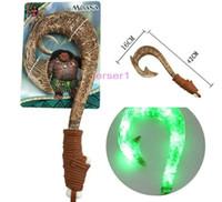 Wholesale Led Light Weapon - Moana Waialiki Maui Heihei ABS Kids Toy Weapons LED Light Flash Sound Saber Fishing Hook Action Figures Moana Adventure Gift For Children