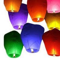 Wholesale Round Paper Lantern Lamps - Wholesale- New 5Pcs Set Wishing Lamp Round Paper Chinese Lanterns Flying Paper Sky Lanterns For Festive Events Celebration Blessing