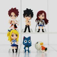 fada, cauda, ação, figuras, pvc venda por atacado-Fairy tail Caudas anime dos desenhos animados Figuras de Ação PVC Natsu / Cinza / Lucy / Erza Coleção de Boneca Brinquedos Conjunto de 6 PCS