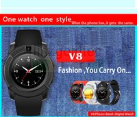 Wholesale Hot Watch Mp3 Camera - hot selling bluetooth sim card V8 smart watch can call, control MP3, pedometer watch with camera watch for android phone with retail box