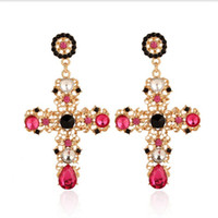 Wholesale Large Rhinestone Cross Earrings - Women New Vintage Earrings Jewelry Black Blue Red Crystal Hollow Out Crosses Dangle Drop Earring Bohemian Large Long Earring Party Gifts SD