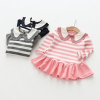 Knee-Length spring packages - 2017 spring and autumn collection of new hot girl children cotton striped baby girl skirt package freight