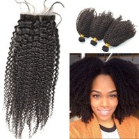 Wholesale afro kinky hair weave closure resale online - 100 Unprocessed Peruvian Afro Kinky Human Hair Weave with Closures Natural Color Silk Base Closures with Bundles FDSHINE