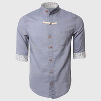Wholesale Wholesale Half Sleeve Shirts - Wholesale- Men Cotton Linen Button Shirt Half Sleeve Dress Shirts Chinese Traditional Casual Regular Slim With Flowered Cuff