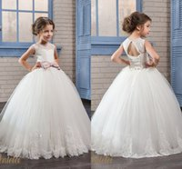 Cute White Flower Girls Dresses Jewel Neckline 2017 Ball Gown Appliqued Pageant Dresses На заказ принцесса Kids Gown для свадебных нарядов
