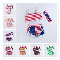 Wholesale Wholesale United States America - 2017 Baby Clothes 3Pcs Set The Independence Of United States America Infant Summer Beach Rompers Toddlers Tassels Bohemian Rompers Clothes