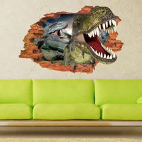 Wholesale dinosaur stickers - Hot sale Creative 3D effect dinosaur decorative Wall Stickers DIY Home Decoration Modern Art Murals for Living Room