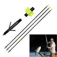 Wholesale Fiberglass Bows - 34'' Solid Fiberglass Archery Arrow 8mm Bow Fishing Hunting Arrow Classic Fish Arrows with Matel Points
