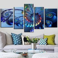 Wholesale Art Decor Peacock - 5pcs set Unframed Peacock Feathers Flower Figure Oil Painting On Canvas Wall Art Painting Art Picture For Home Decor