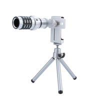 lente zoom universal al por mayor-Telescopio Lente de la cámara 12X Zoom Teleobjetivo Lente óptica de la cámara Telescopio Lente + Montaje Trípode Para el iPhone Samsung Todo el teléfono