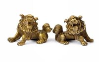 ingrosso cinese foo cane statua coppia-Pair poco costoso fortunato cinese Fengshui Pure Brass Guardian Foo Fu Dog Lion Statue Pair