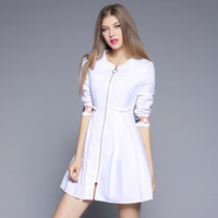 Wholesale European Fashion Industry - The spring of 2017 hot sale the new European and American fashion heavy industry A word skirt dress white embroidery dress