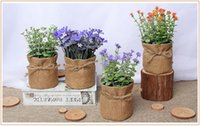 Wholesale Eco Friendly Products Basket - home decor Creative Flower basket House Wall Decor Country style Home Products Sundries Linen Simulation flower Wall Decoration wholesale