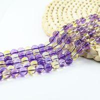 Wholesale Quartz Gemstone Bead Strand - Amethyst Citrine Quartz Synthetic Round Semi-Precious Gemstone Beads 4 6 8 10mm Full Strand 15 inch L0581#
