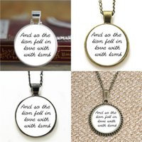 Wholesale twilight pendants resale online - 10pcs Twilight And so the lion fell in love with the lamb Edward Cullen Quote Glass Necklace keyring bookmark cufflink earring bracelet