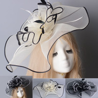 Wholesale Decoration Church - Handmade Hair Clip Cocktail Party Wedding Supplies Decoration Fascinator Feather Flower Lady Church Hat 2 Colors Free Shipping