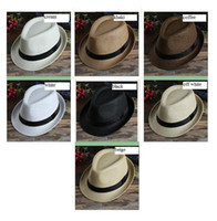 Wholesale Grey Straw Hats For Men - Men Women Panama Straw Hats Fedora Stingy Brim Hats Soft Vogue For Unisex 7 Colors Summer Sun Beach Caps Linen Jazz