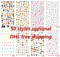 Wholesale Free Sticker Sheets - DHL free 50 styles 1000 sheets Art Nail stickers wholesale cartoon animals flowers Nail Art Sticker Decal Sticker For Nail Art Decoration