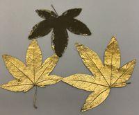 Wholesale Dye Press - Latest Dyed Gold Maple Leaf Dried flower Specimens DIY handmade material dried press flower 100pcs Diameter Around 4 CM