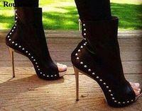 botas abertas para o tornozelo da plataforma do dedo do pé venda por atacado-Venda quente Mulheres Moda Dedo Do Pé Aberto Pico Ankle Boots de Salto Alto Preta Stiletto Rebite Plataforma Gladiador Botas Vestido Sapatos
