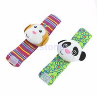 Wholesale Rattles Hands Foots - Wholesale- New 1PC Developmental Toy Animal Baby Infant Kid Soft Hand Wrist Bells Foot Sock Rattles