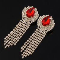 Wholesale Luxury Earings - Chran Luxury Bridal Gold Color Clear Rhinestone Crystal Earings Wedding Party Dangle Chandelier Drop Earings Jewelry E075