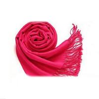 Wholesale Large Wool Pashmina - Wholesale- Winter Women Trendy Wrap Fashionable Scarf Wool Blends Soft Warm Long Large Shawl Tassels-rose Red