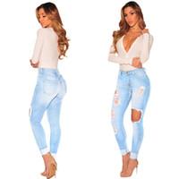ingrosso denim leggero strappato le donne dei jeans-Jeans strappati per le donne Ragazze Jeans skinny Pantaloni buco Pantaloni denim Pantaloni lunghi Sezioni Plus Size New Fashion 2017 Light Blue