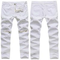 jeans blancos al por mayor-Pantalones vaqueros rasgados blancos al por mayor-nuevos del Mens 100% Pantalones vaqueros pitillos apeados del agotamiento Cremallera del cargo del adelgazamiento sobre la rodilla Hip-Hop Pantalones masculinos Jeans