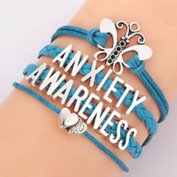 Wholesale Teal Bracelets - Anxiety Awareness Letters Bracelet Teal Leather Braid Heart Butterfly Bracelets Bangle For Women Weave Jewelry 8905