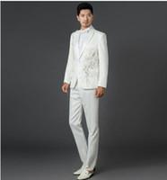 traje de pantalón de boda de lentejuelas blancas al por mayor-Negro blanco azul rojo parquet flores 2017 recién llegado de lentejuelas traje conjunto mens traje de novio de la boda hombres slim fit + pant + tie