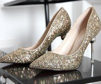 Wholesale Wholesale Pointed Ballet Shoes - New Women wedding Bling Sequined high-heeled Shoes Fashion Glitter Gorgeous Party High Heel Pumps shoes gold silver red Christmas gift 9.5cm