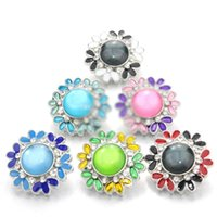 Wholesale Fresh Flower Bracelets - Fresh flower snap button jewelry oil drip charm button fit 18mm snap button jewelry snap bracelets bangles necklace for women
