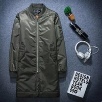 Wholesale Casual Spring Military Jacket Men - 2017 Winter men bomber jacket long jackets and coats spring casual military green kanye west MA-1 basic jackets plus size